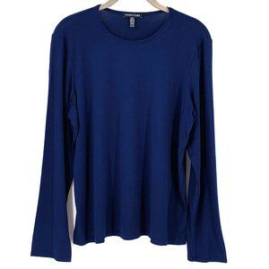 EILEEN FISHER Navy Blue Viscose Jersey Top Size XL